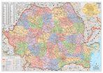 Hartă de perete România Administrativă - șipci lemn