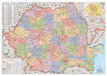 Harta de perete Romania Administrativa 100x70 cm sipci lemn