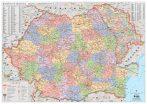 Hartă administrativă de perete România și Moldova  160x100 cm